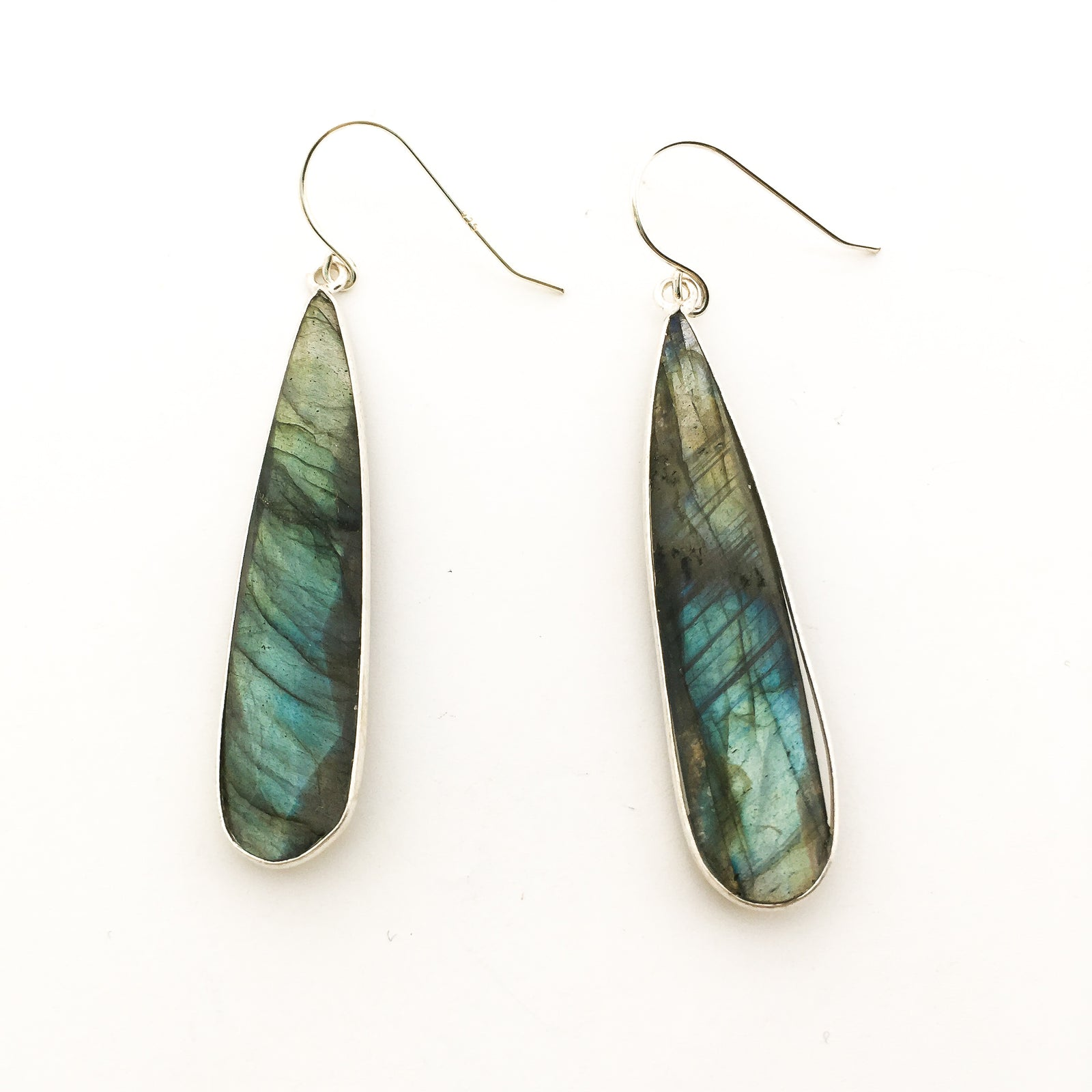 PILLAR DROP LABRADORITE STONE EARRINGS | STERLING SILVER