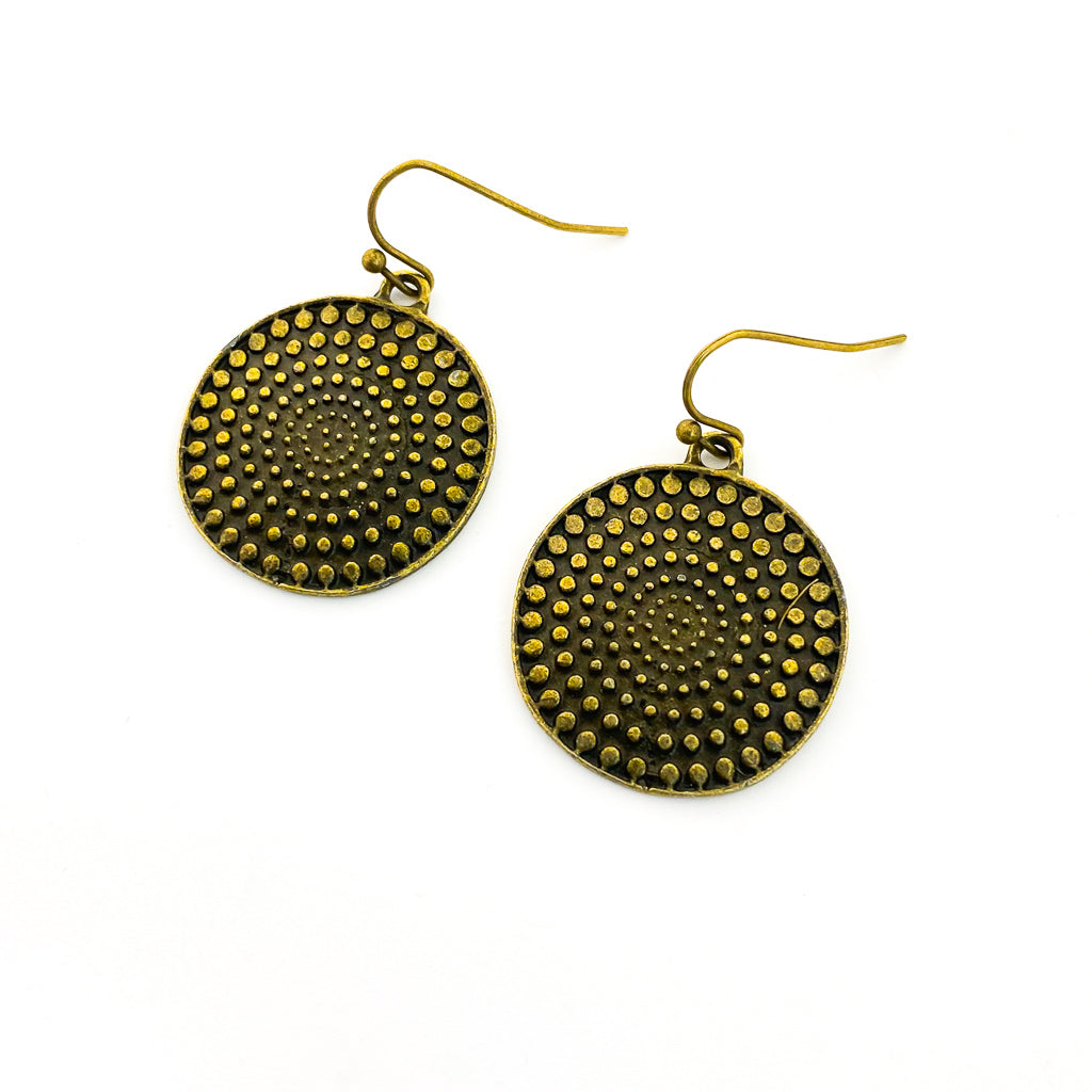 BRONZE DOTTED CIRCLE EARRINGS