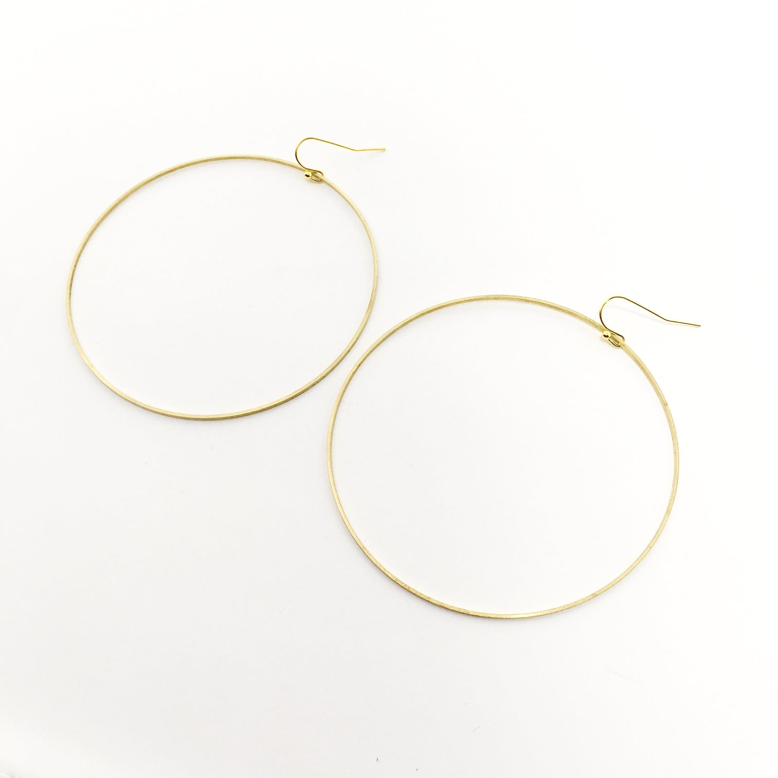 EXTRA LARGE GOLDEN BRASS HOOPS