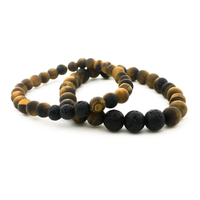 MENS MATTE TIGER'S EYE | TRIPLE LAVA DIFFUSER | SIZE OPTIONS