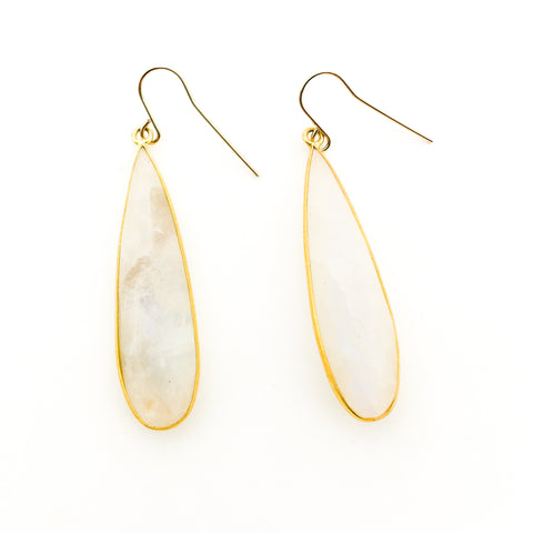 MOONSTONE RECTANGLE EARRINGS | 14K GOLD-FILLED