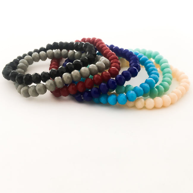 CRYSTAL BRACELETS | 6MM | SOLID COLOR OPTIONS