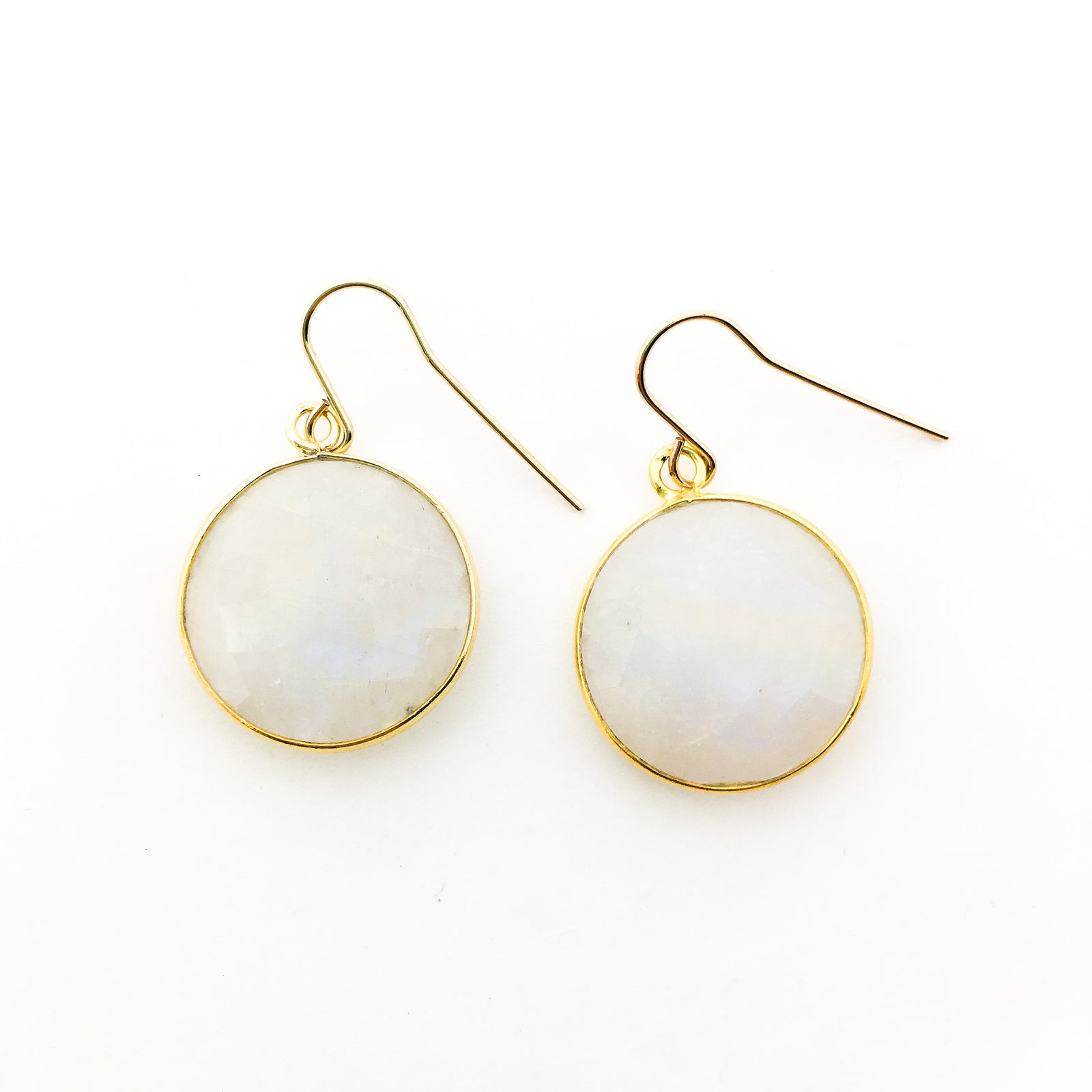 ROUND MOONSTONE DROP EARRINGS | 14K GOLD-FILLED