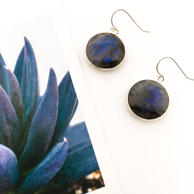 ROUND LABRADORITE STONE DROP EARRINGS | STERLING SILVER