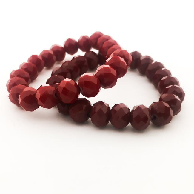 RED CRYSTAL BRACELETS | 10MM | SOLID COLOR OPTIONS