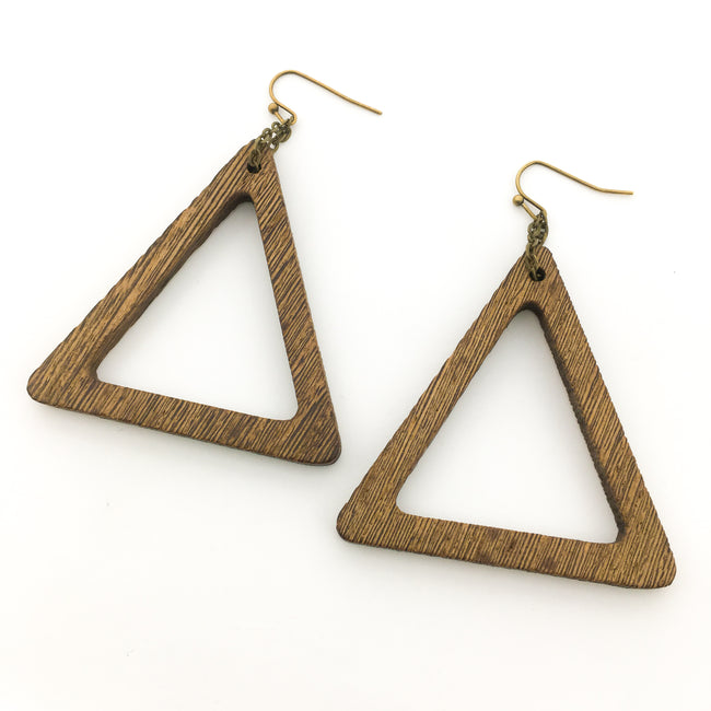 TRIANGLE WOOD EARRINGS | BRONZE