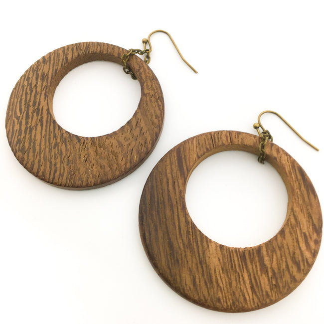 LARGE WOOD OPEN CIRCLE EARRINGS | BRONZE