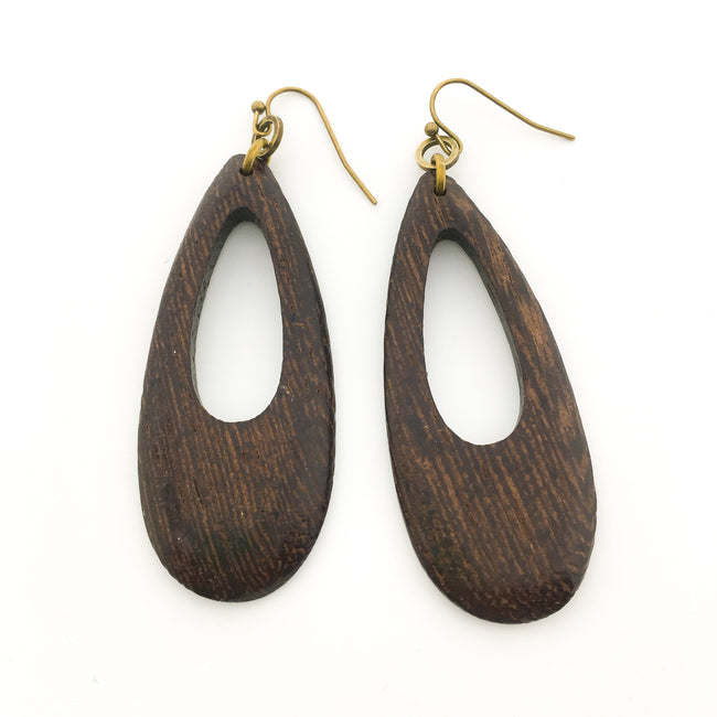 LONG WOOD OPEN DROP EARRINGS | BRONZE