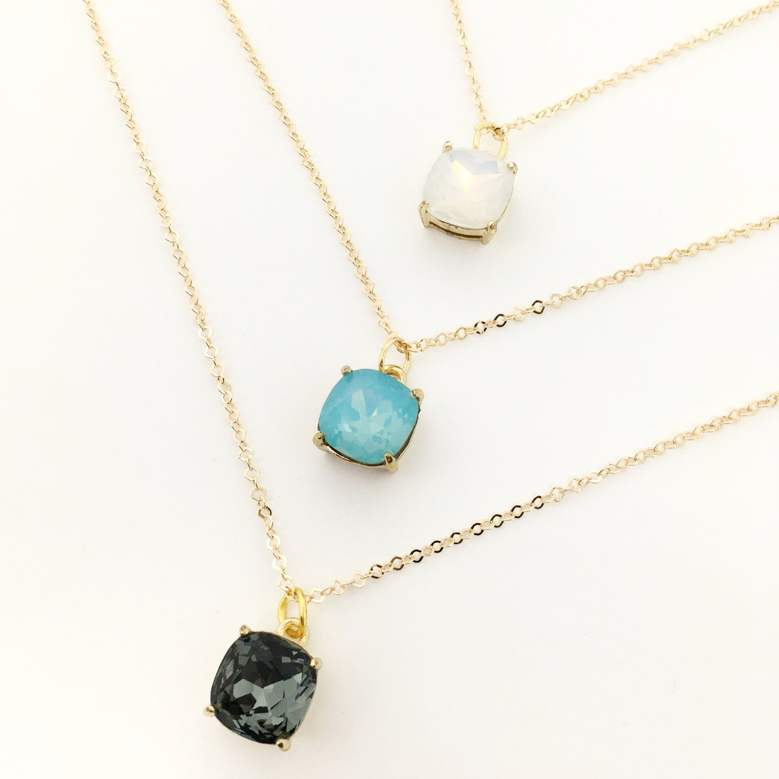 FH CUSHION CRYSTAL NECKLACES