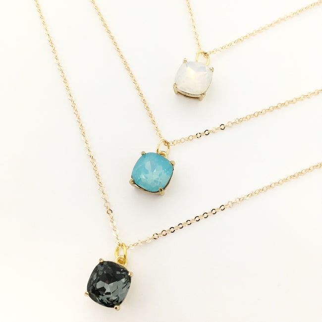CUSHION CRYSTAL NECKLACES