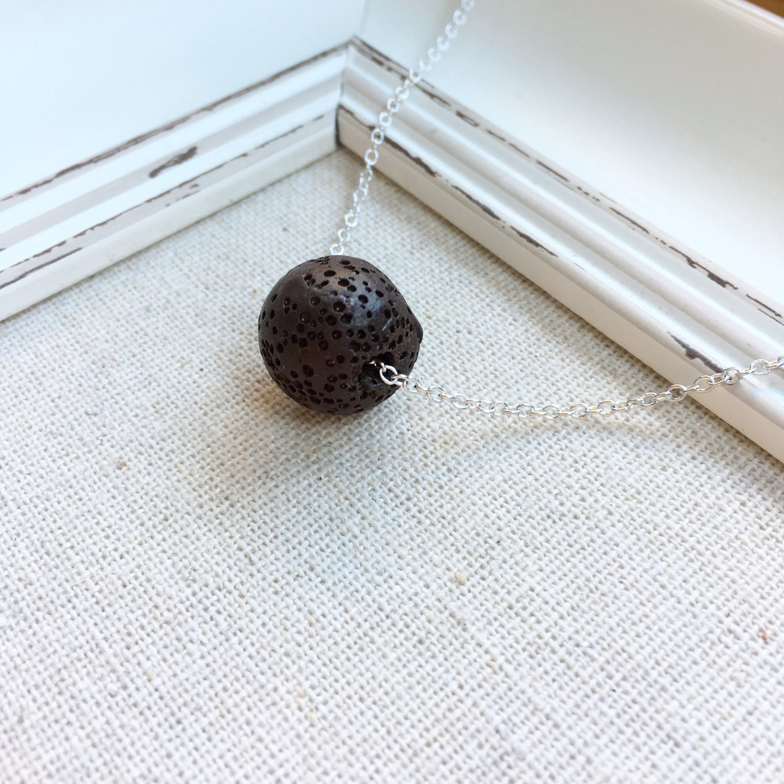 FH HELD NECKLACE | 14MM | CHOCOLATE LAVA ROCK