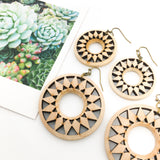 SPOKE WOODEN DIFFUSER EARRINGS | NATURAL WOOD | SIZE OPTIONS