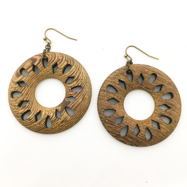 LARGE WOOD PATTERNED CIRCLE EARRINGS| BRONZE