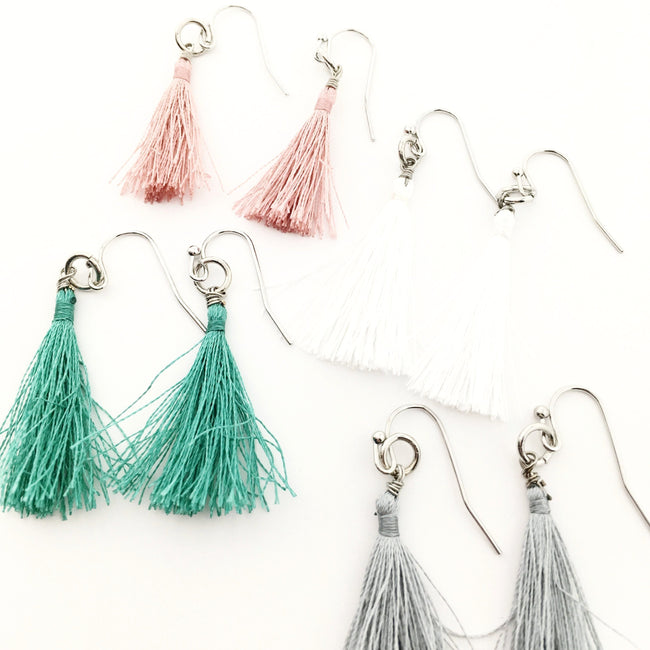 THREAD TASSEL EARRINGS | SILVER | COLOR OPTIONS