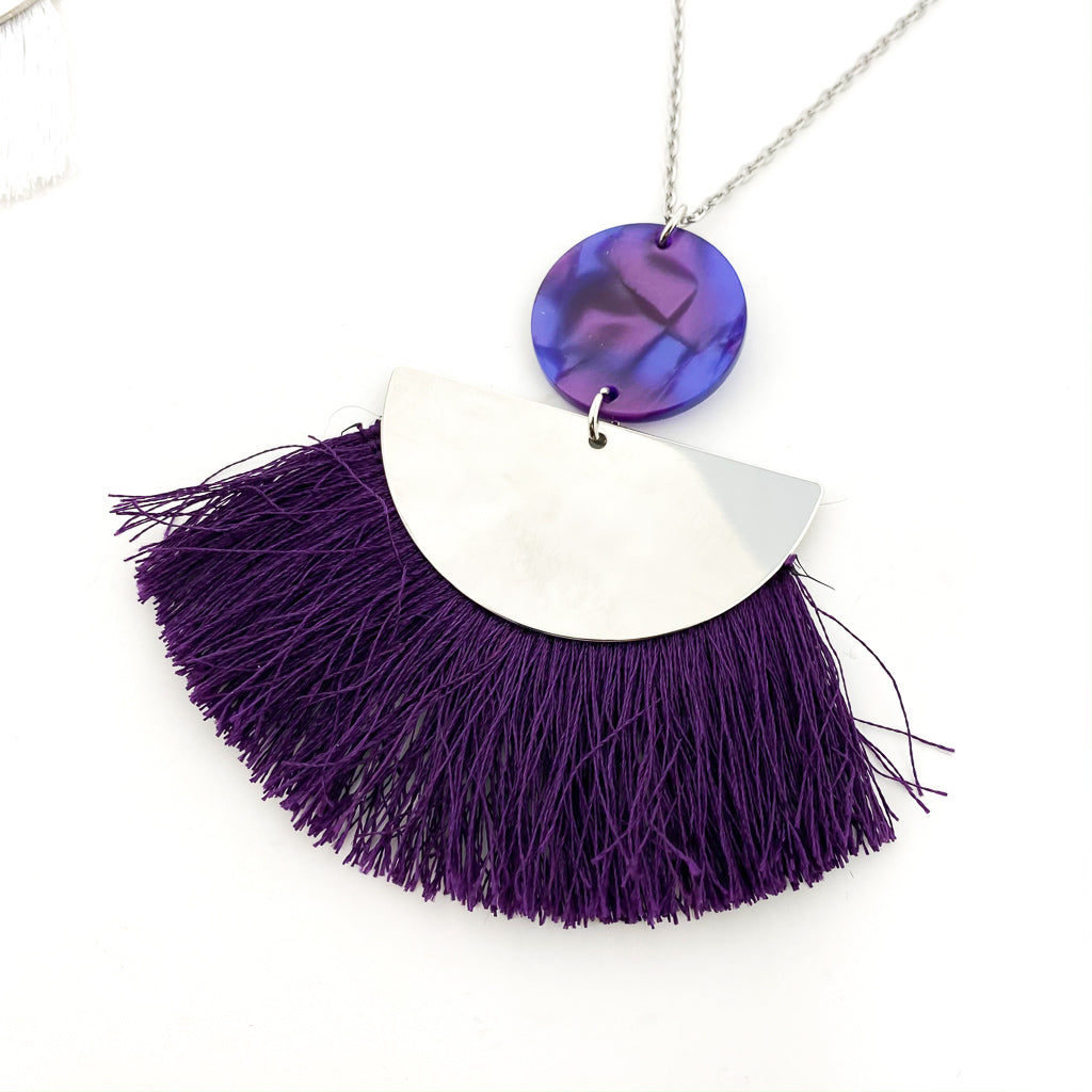 RESIN & SEMI-CIRCLE TASSEL NECKLACE | SILVER | ASSORTED COLORS
