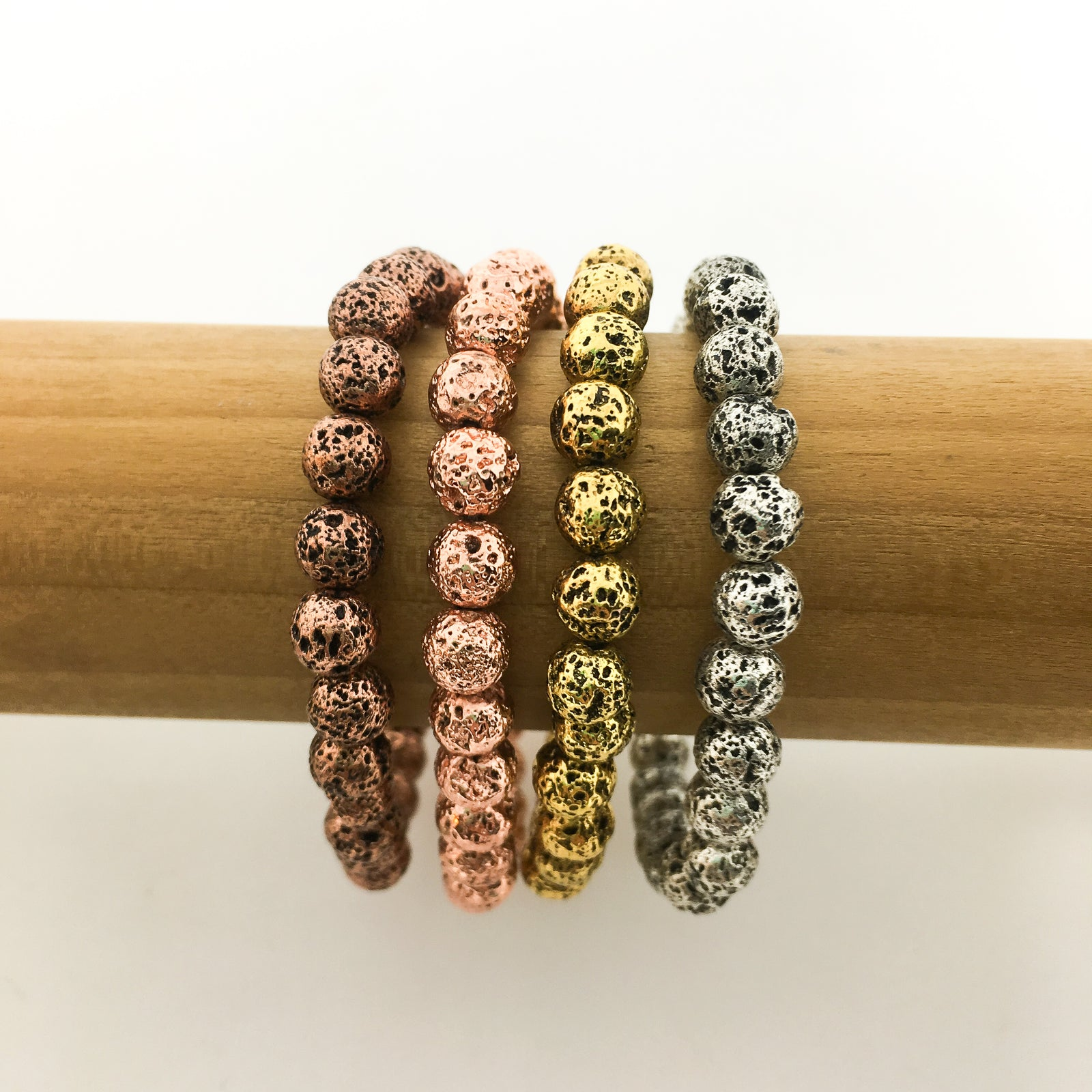 ELECTROPLATED LAVA BEAD BRACELETS | 6MM | COLOR OPTIONS