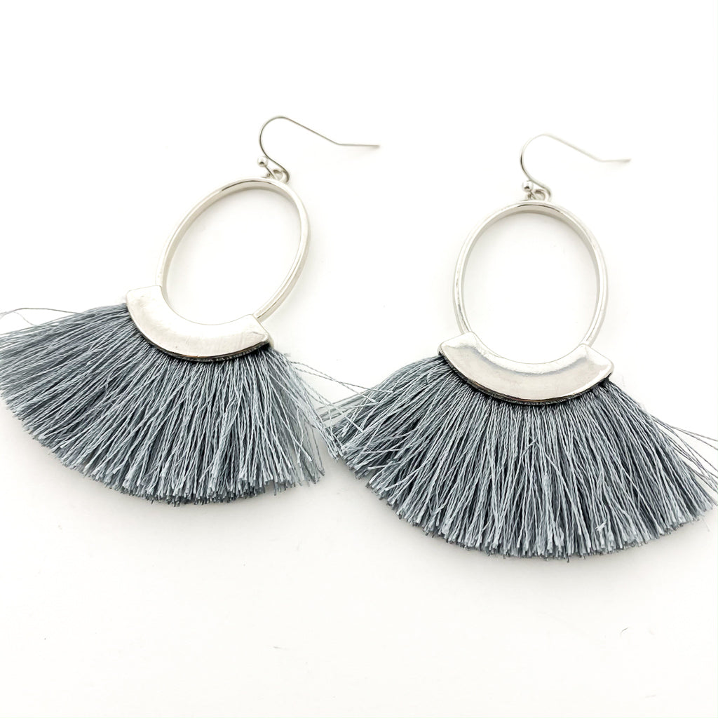 HANGING OVAL & TASSEL EARRINGS | SILVER | ASSORTED COLORS