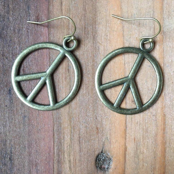 MEDIUM BRONZE PEACE EARRINGS