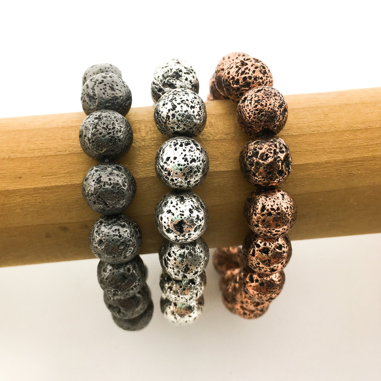 ELECTROPLATED LAVA BEAD BRACELETS | 10MM | COLOR OPTIONS