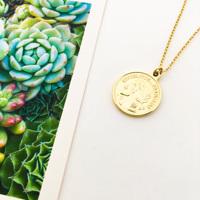 DOUBLE-SIDED FRANCAISE COIN NECKLACE | 14K GOLD-FILLED