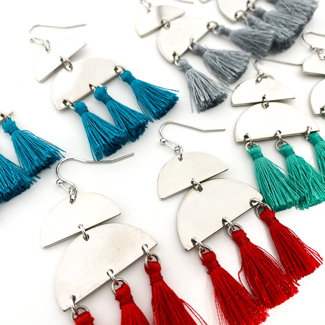 HANGING SEMI-CIRCLES & TASSEL EARRINGS | SILVER | ASSORTED COLORS