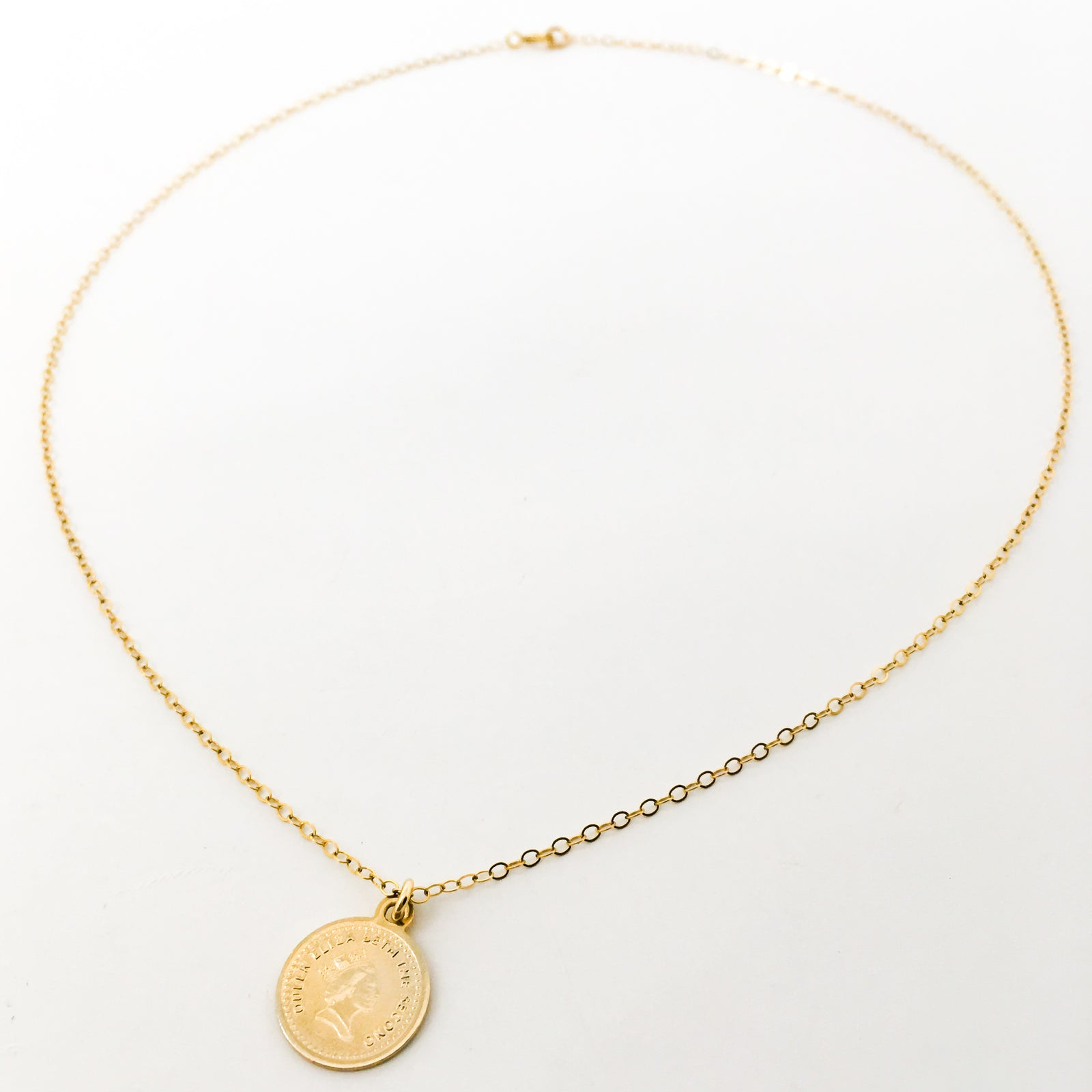 MINI DOUBLE-SIDED QUEEN ELIZABETH COIN NECKLACE | 14K GOLD-FILLED