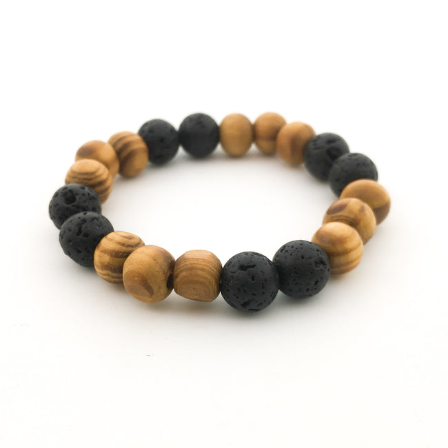 DOUBLE PATTERN LAVA & WOOD DIFFUSER BRACELET | KIDS