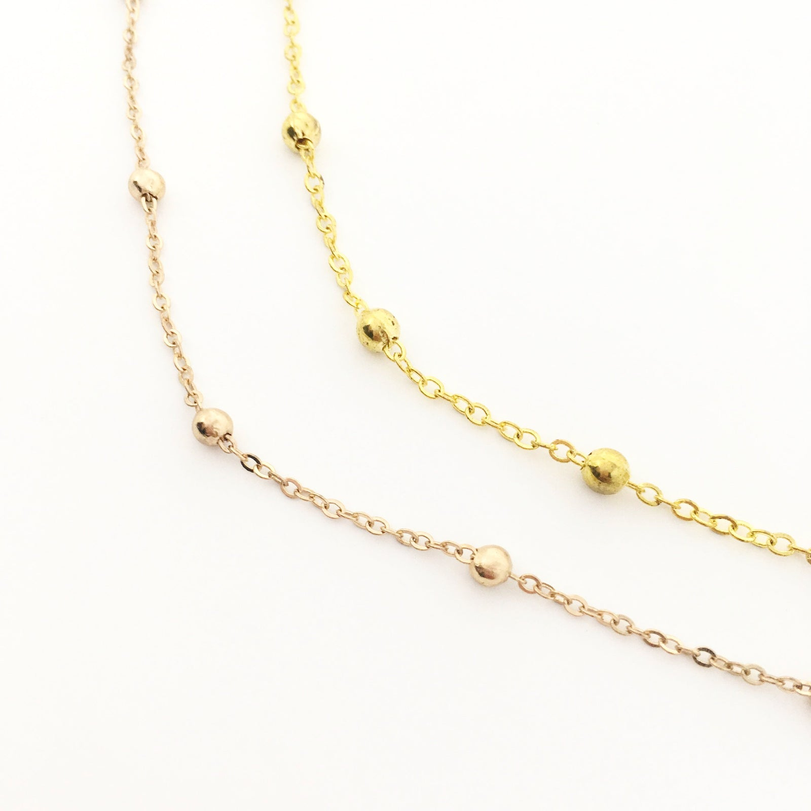 BEADED CHAIN NECKLACES | GOLD & ROSE GOLD