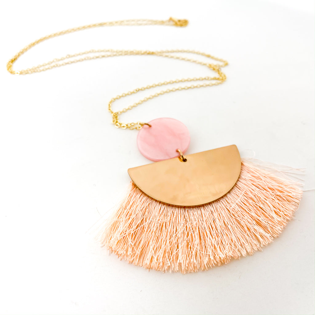 RESIN & SEMI-CIRCLE TASSEL NECKLACE | GOLD | ASSORTED COLORS