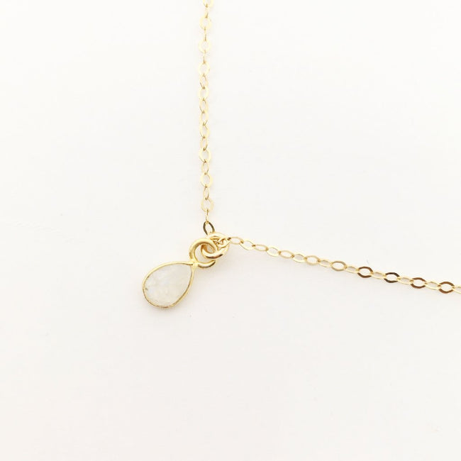 14K GOLD-FILLED TEAR DROP MOONSTONE NECKLACE