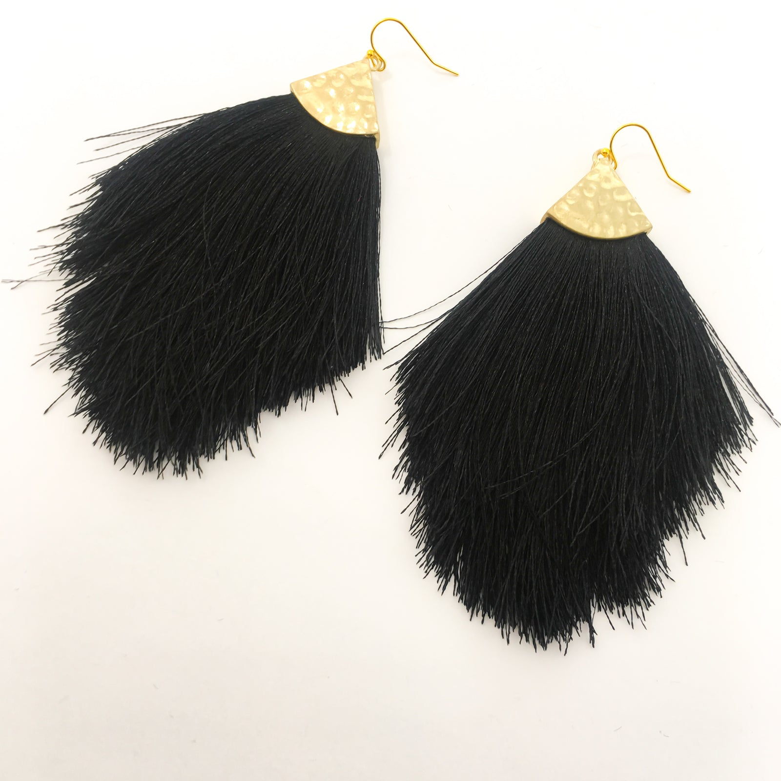 LARGE FEATHERED TASSEL EARRINGS | COLOR OPTIONS