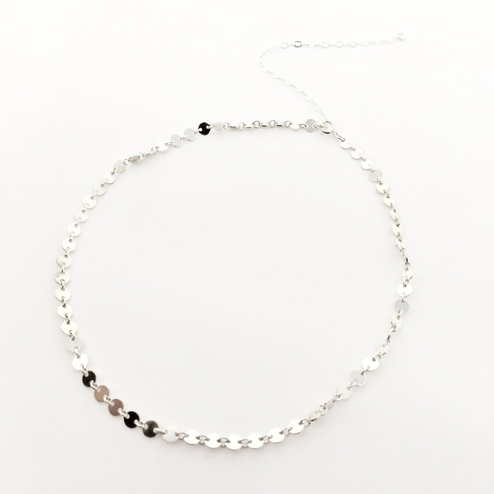 DISK CHAIN NECKLACE | STERLING SILVER