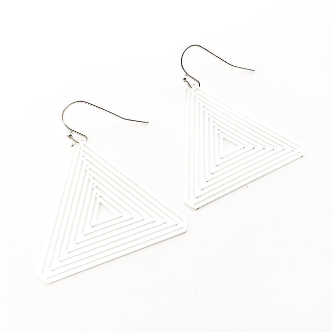 PATTERN PYRAMID EARRINGS | SILVER