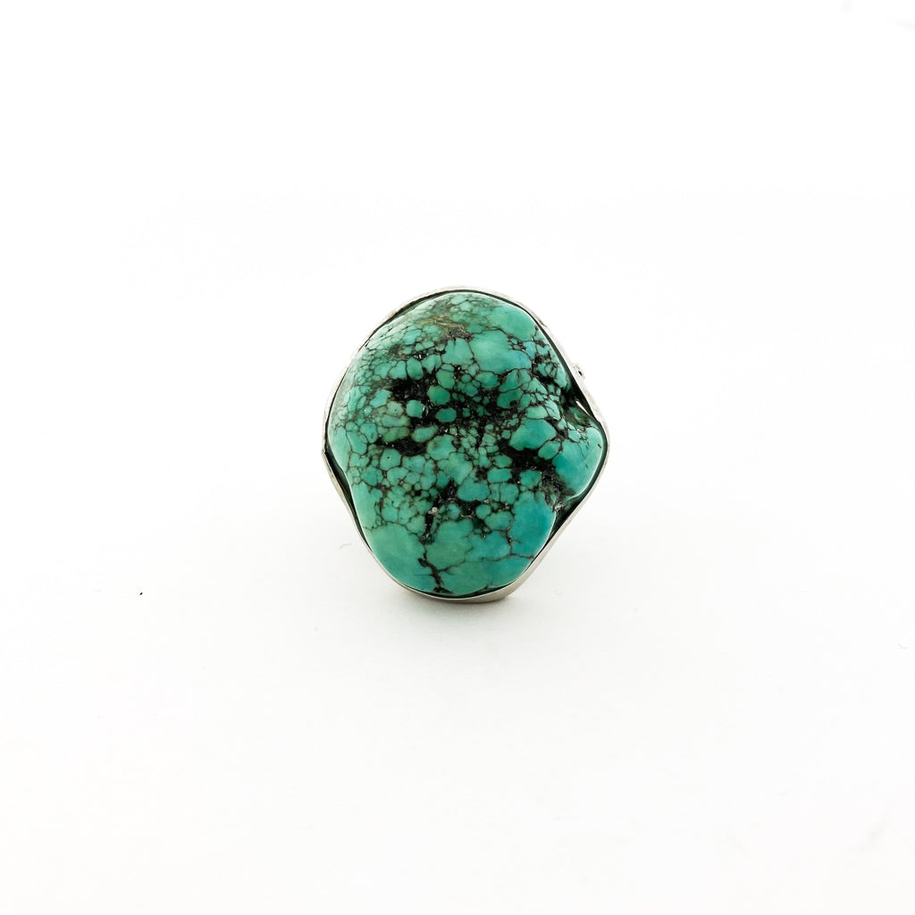 TURQUOISE ADJUSTABLE RING | SILVER