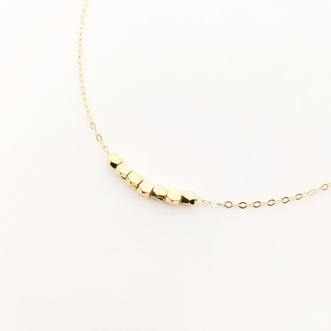 14K GOLD-FILLED BEADED BAR NECKLACE