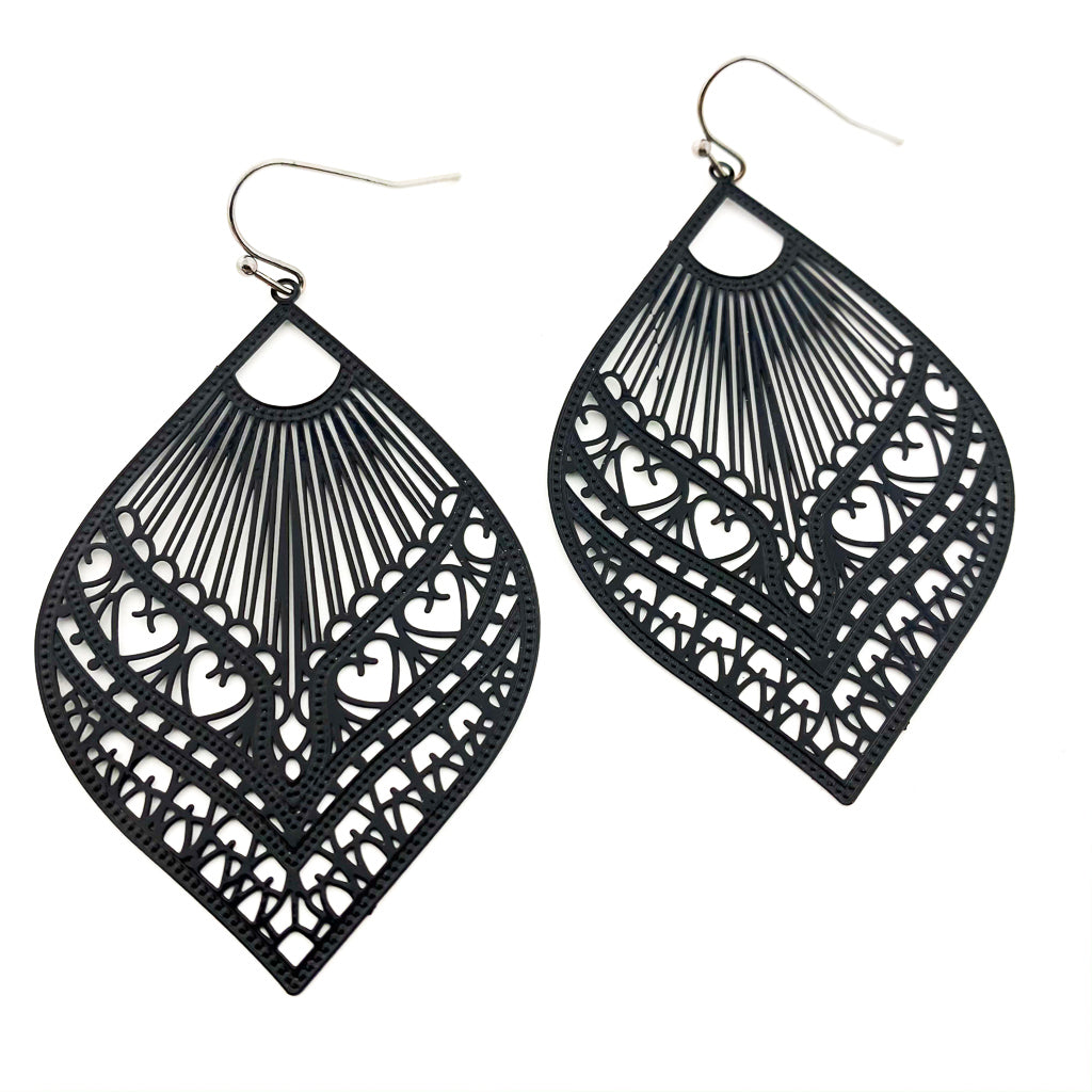 FEATHERED DROP FILIGREE EARRINGS | NEUTRAL COLOR OPTIONS
