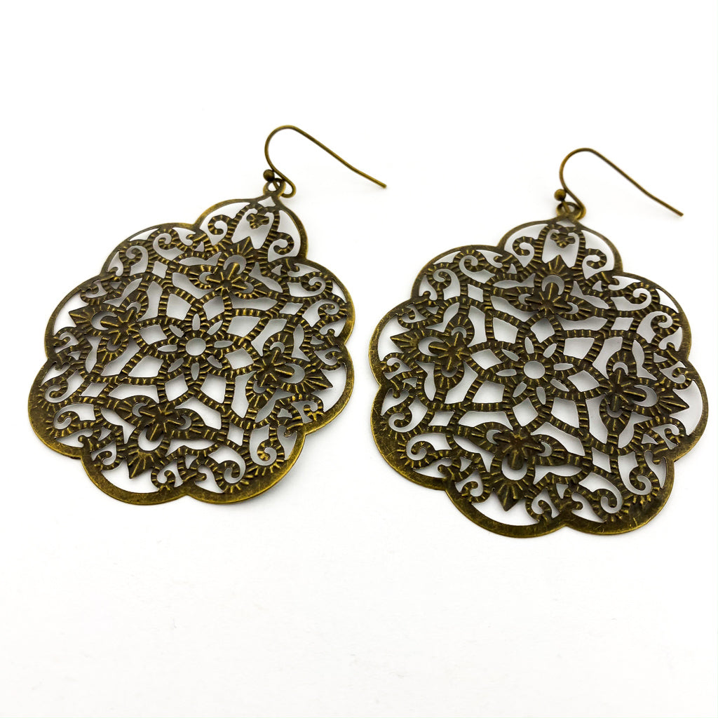 LARGE FILIGREE PATTERNED EARRINGS