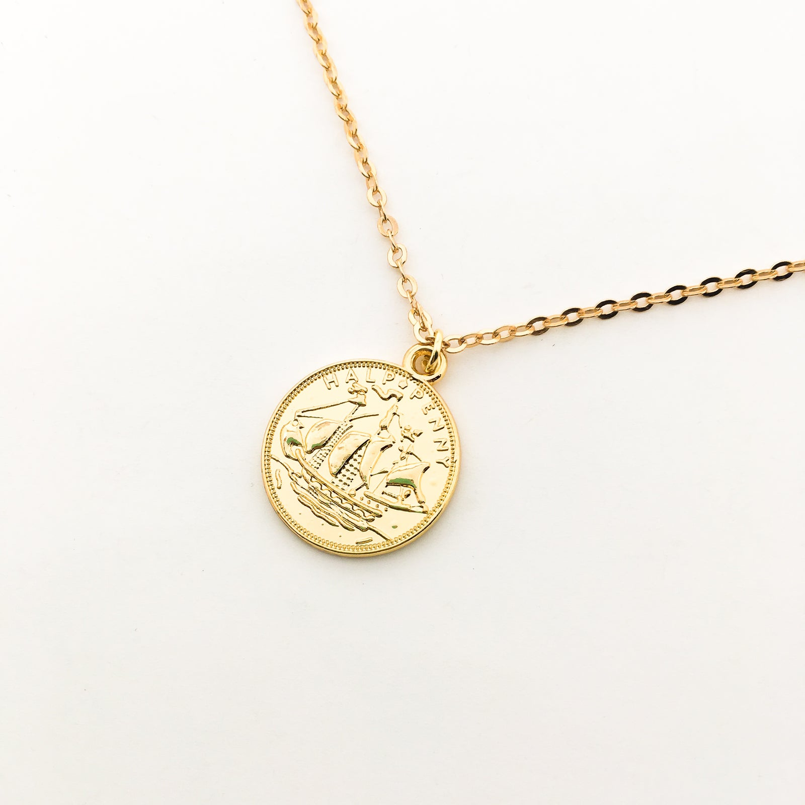 DOUBLE-SIDED ELIZABETH COIN NECKLACES | GOLD | SIZE OPTIONS