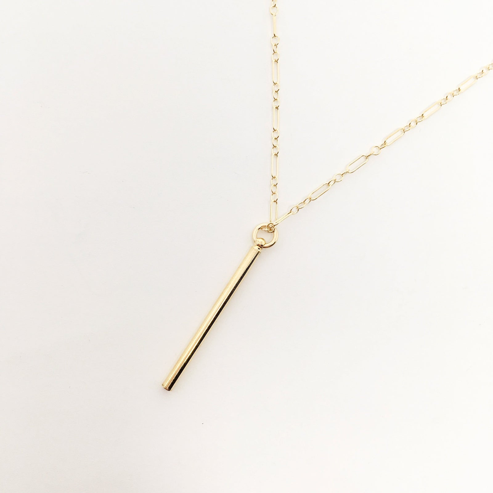 14K GOLD-FILLED DAINTY LONG BAR NECKLACE