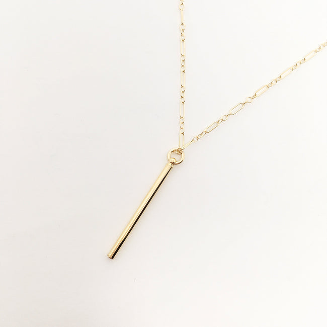 14K GOLD-FILLED DAINTY CHAIN LONG BAR NECKLACE