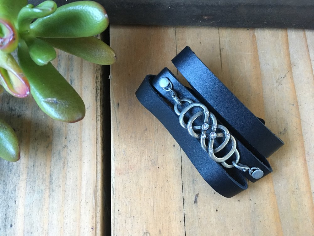 STUDDED INFINITY LEATHER WRAP