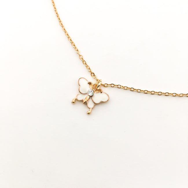 RHINESTONE BUTTERFLY NECKLACE | GOLD