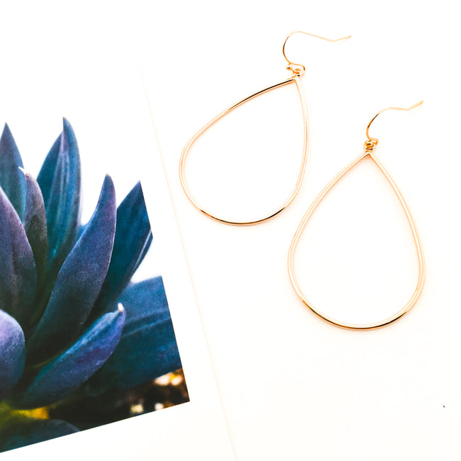 LARGE DROP EARRINGS | ROSE GOLD PLATED
