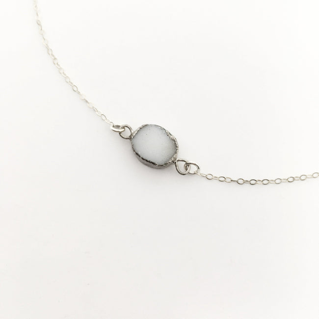QUARTZ DRUZY STONE NECKLACE | STERLING SILVER