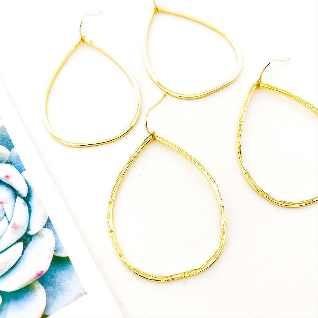 OVAL DROP EARRINGS | 18K GOLD PLATED | TEXTURE OPTIONS