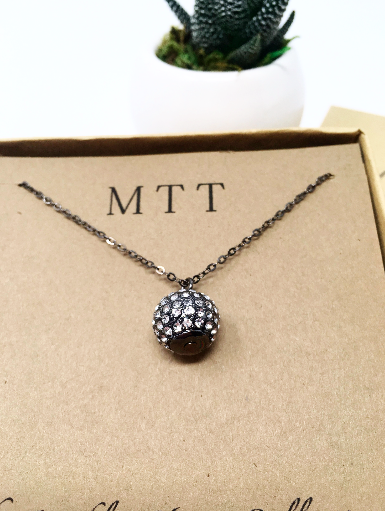 FH HANGING RHINESTONE PAVE NECKLACE | GUN METAL
