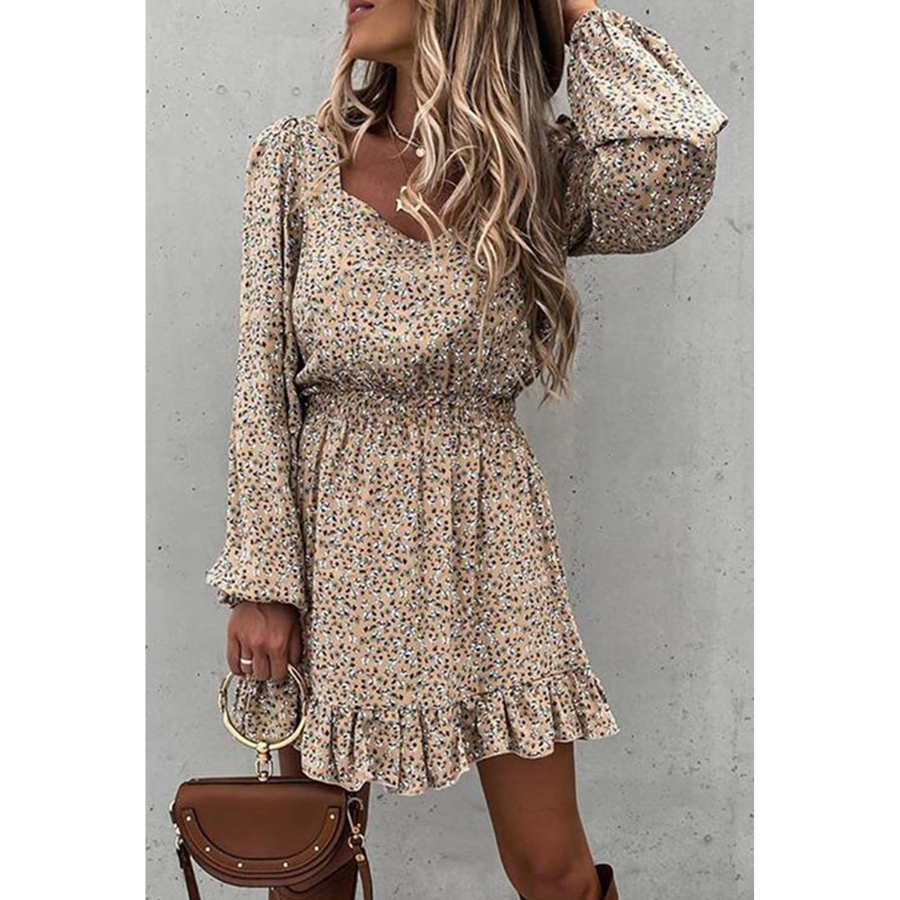 KHAKI ELASTIC WAIST RUFFLED FLORAL DRESS