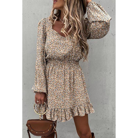 V-NECK BUTTON DOWN ROLL UP SLEEVE DRESS