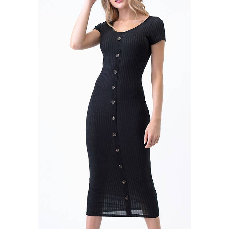 SCOOP NECK RIBBED MAXI DRESS | BLACK