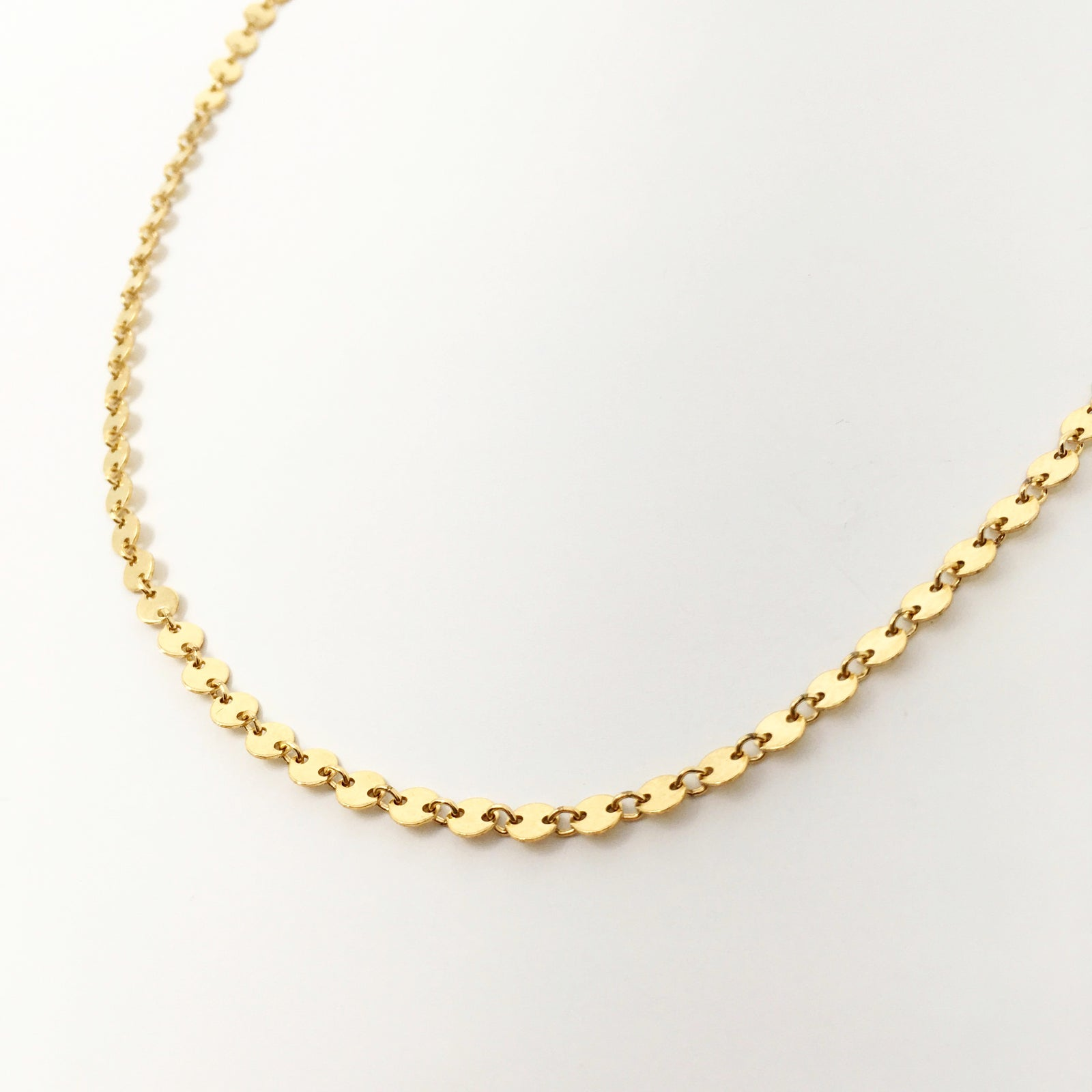 14K GOLD DISK CHAIN NECKLACE